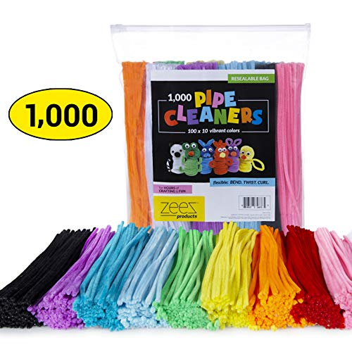 zees 1,000 Pipe Cleaners in 10 Assorted Colors, Value Pack of Chenille Stems for DIY Arts and Craft Projects and Decorations - 6mm x 12 Inches (1000)