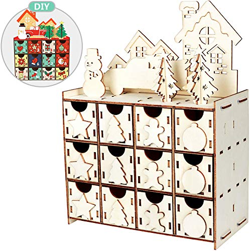 Aytai DIY Wooden Advent Calendar Christmas Advent Calendar 2019 with 24 Drawers, 24 Days Countdown Calendar for Christmas Holiday Decorations