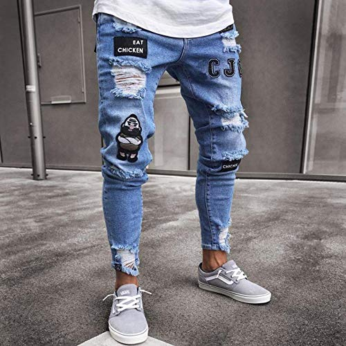 Herren Painted Skinny Slim Fit Straight Ripped Distressed Plissee Knie Patch Jeanshose Stretch Jeans S 807