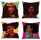 JgZATOA Fundas De Almohada Anime Mujer Africana Funda De Almohada Cojín Hogar Dormitorio Sofá Funda De Cojín Decoración De Coche 45 X 45 Cm Juego De 4