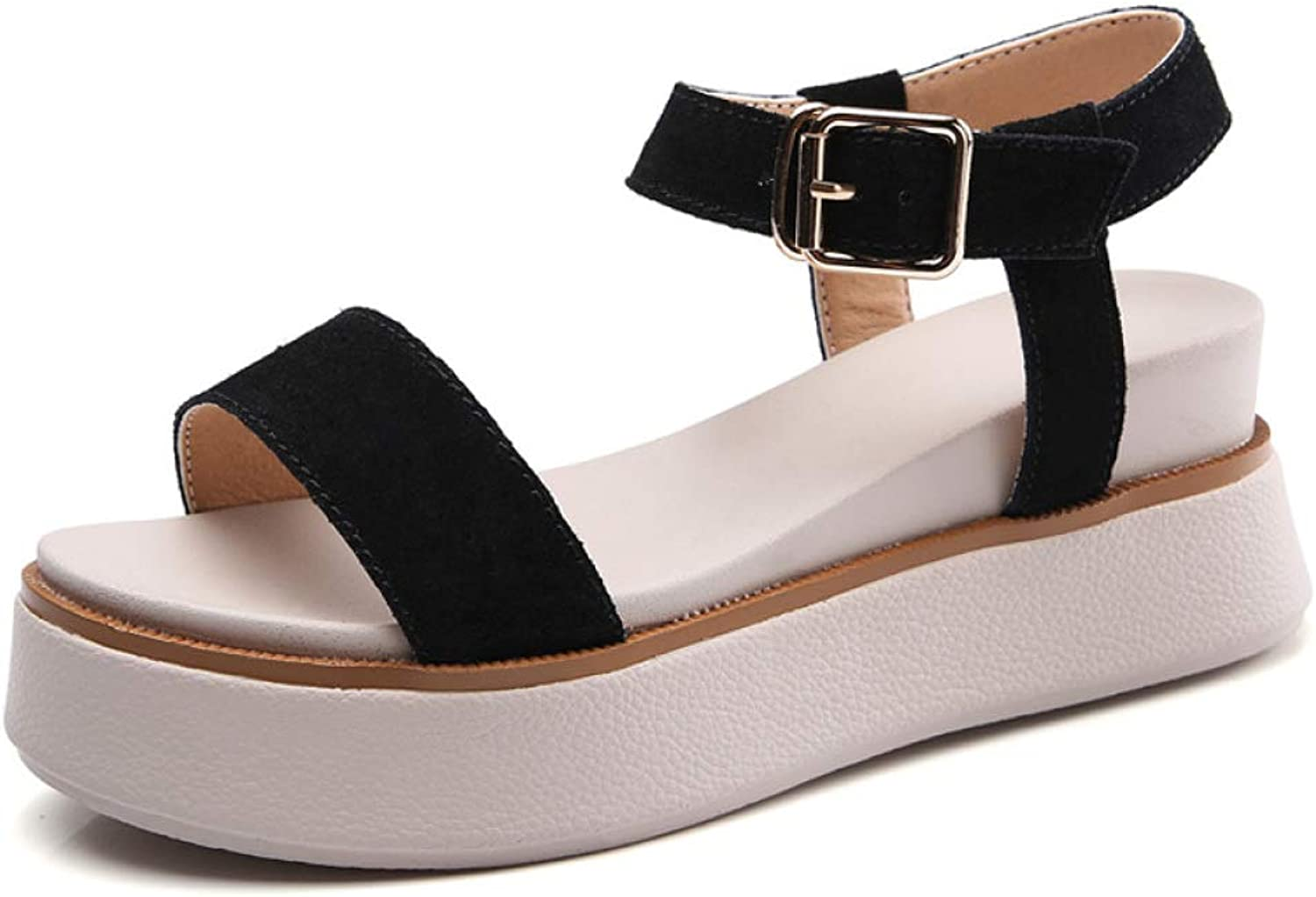 MEIZOKEN Womens Open Toe Wedge Platform Comfort Suede Casual shoes Ankle Strap Non-Slip Slide Sandals