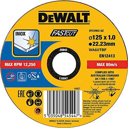 DEWALT DT43902-QZ DT43902-QZ-Disco de Corte Plano INOX con Grano Profesional de óxido de Aluminio Fast Cut 125 x 1 x 22.23mm, Schwarz/Gelb