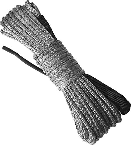 ZESUPER Synthetic Winch Rope1/4''x 49' 10000LBs Winch Rope Cable with Sheath Winches for Winches SUV ATV UTV Vehicle Boat Ramsey Car (Gray)