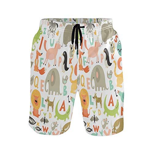 Alfabeto De Animales De La Jungla Bebé Bañador para Hombre Pantalones Cortos Bañadores Shorts para Hombres Natacion Piscina Surf Playa