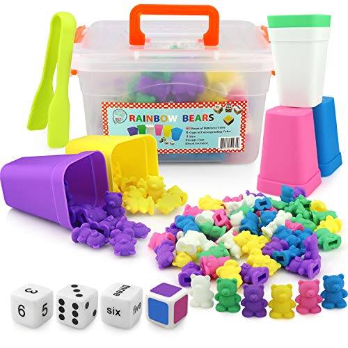 Counting Bears with Matching/Sorting Cups, 4 Dice ,Tweezers and an Activity e-Book. for Toddlers and Early Childhood Education. 71 pc Game Set in Pastel Colors.