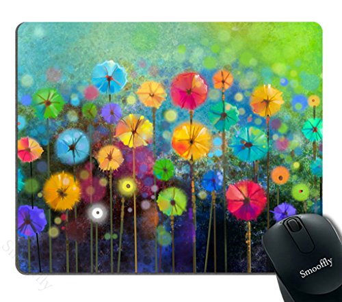 Smooffly Watercolor Nature Landscape Floral Mouse Pad, Blossom Plants Herbs Garden Scene Colorful Spring Petal Flowers Personalized Mouse Pads