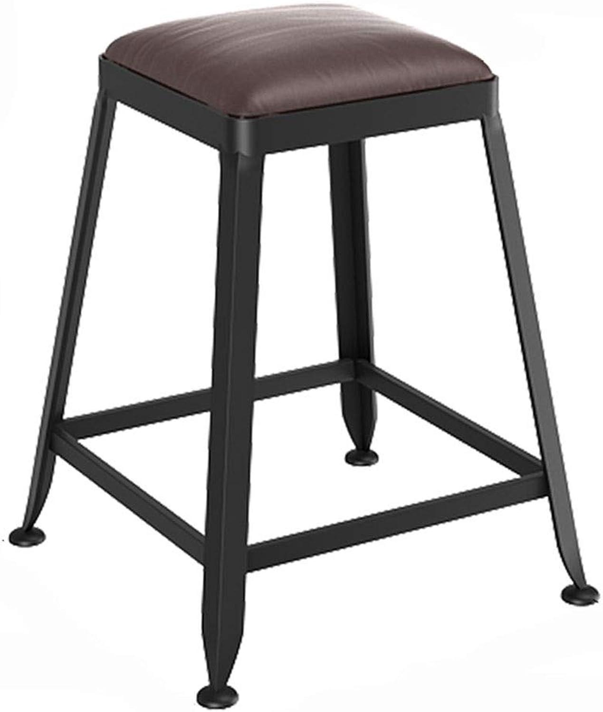 LJFYXZ Bar Stool Bar Furniture Breakfast Chair Iron Art Kitchen bar Counter High Stool PU Cushion Retro Style Bearing Weight 200kg (Size   45CM)