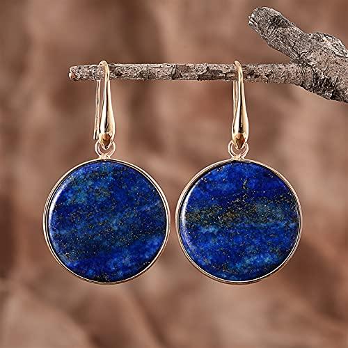 JKLJKL Piedras Azules Naturales Oval Agua Drop Pendientes Pendientes Declaración Joyería para Mujer (Metal Color : Round)