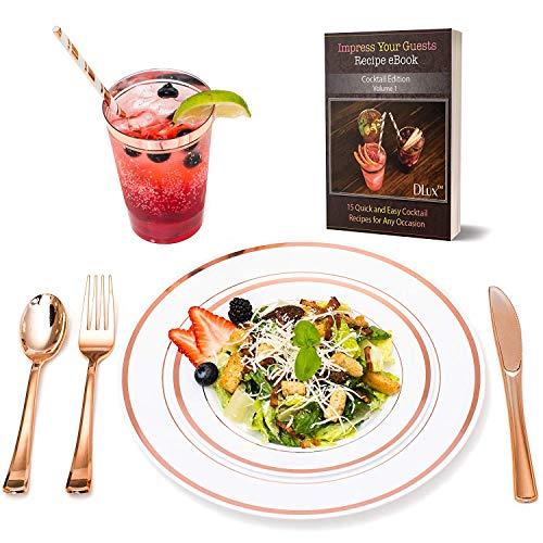 Roségoud gerimd servies en bekers 175 Stuk Rose Goud Diner Set