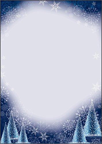 SIGEL DP017 Papel navideño, decorado con árbol de Navidad y copos de nieve, 21 x 29,7 cm, 90g/m², blanco y azul, 100 hojas
