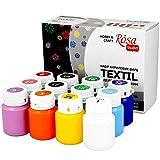 Krevo Art - Juego de pinturas textiles, 12 x 20 ml, en botella, para pintar diferentes tex...