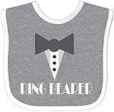 Inktastic Ring Bearer Mock Tux Tuxedo Baby Bib Heather/White