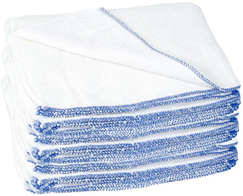 8 x Large Dish Cloths Traditional Kitchen Cleaning Dish Washing Up Absorbent Reusable Jumbo White Dishcloth