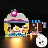 CZA La luz LED UP para Olivia Torta de la Fresa Cafetería Juguetes Set de iluminación con Compatile 41366 (no Incluye el Modelo)