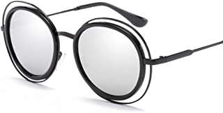 SGJFZD Womens Polarized Light Sunglasses Vintage Retro Metal Round Sunscreen UV400 (Color : Black+White)