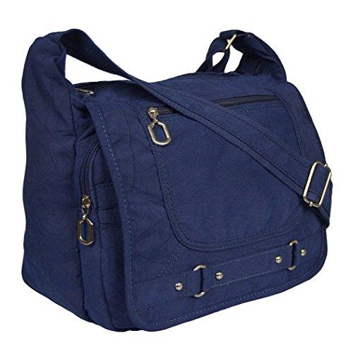 Leichte Sportlische Damen Schultertasche Umhängetasche Handtasche Stofftasche Bag Crossover (Blau)