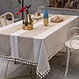 Embroidery Tassel Tablecloth Farmhouse Table Cloth Cotton Linen Wrinkle Free Tablecloths Washable Dust-Proof Rectangle Table Cover for Kitchen Dining Tabletop Decor (Beige, 55 x 70 Inch)