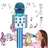 Micrófono Karaoke Bluetooth, Micrófono Inalámbrico Bluetooth con Altavoz, Micrófono Karaoke Portátil para Niños Canta Partido Musica, Compatible con Android/iOS PC o Teléfono Inteligente (Blue)