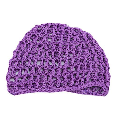 LJSLYJ Femmes Main Crochet Cheveux Tissé Accessoires de Filet Cheveux Élastiques Net Casquettes Bonnet de Sommeil, Violet
