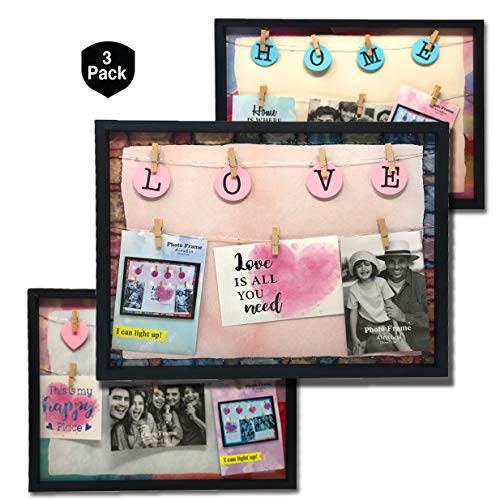 Pro Image Light-Up LED Picture Frame with Clips | Design Family Photo Display with Clothespins for Home, Dorm | Large Hanging Decoration Frame 12 x 16 inches (3 Pack)