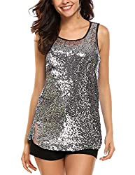 Silver #2 Sleeveless Shimmer Camisole Vest Sequin Tank Top