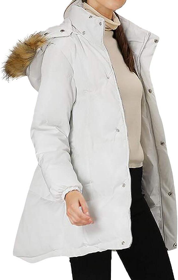 Huicai Women's Mid-Length Padded Jacket Slim Warm Girls Outerwear