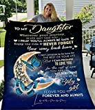 Flannel Blanket to My Daughter from Mom Dad Blanket I Love You Personalized Custom Gifts Ultra-Soft Micro Light Weight Warm Bed Throw Blanket (to Daughter from Mom, 60'x50')