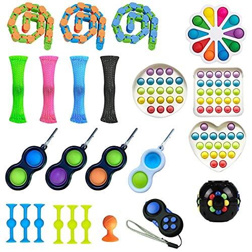 フタリジカン 24 Pack Bundle Sensory Fidget Toys Set-Sucker Toy/Mochi Squishy/Stretchy String/Flippy Chain/Easter Egg/Marble Mesh/Cube for Autistic Kids, ADHD, Anti-Stress Toys (AA)