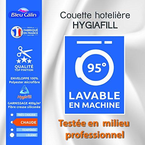 Bleu Calin Couette Hotelière Hygiafill / 400 GR/m² (Couette Hotelière Hygiafill Blanche, 140 x 200 cm pour lit 1 Place 90 x 190 cm)