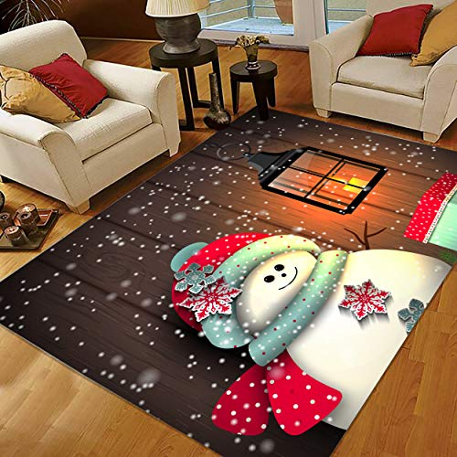 Christmas Rugs 3x5, Snowman Area Rugs, Small Rugs for Living Room Bedroom for Holiday Decoration 334475126-Snowman with Vintage Lantern
