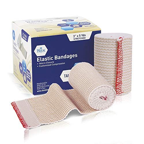 Medpride Self Closure Elastic Bandages with Hook & Loop Fasteners [4 Rolls]- Athletic Flex Tape for Customized Compression- Knee Ankle Wrist Bandage Wraps –3'' x 5 Yards - Tan Color