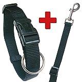 Black Label Halsband + Leine, Halsband- verstellbar-22-35cm, 10 mm + Leine 120-180cm/15mm das preiswerte Set! Ideal für Züchter oder Welpen die noch wachsen