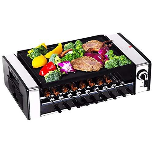 BWGQ Grigliare Barbecue, Griglia Multifunzione, BBQ Automatico Senza Fumo | Electric Kebab Rotary Grill | Stufa Girarrosto | Barbecue Teppanyaki | Piastra per Spiedini Antiaderente per Padella Black