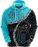 WLXW Men Viking Hoodies, Norse Odin's Eye Tattoo 3D Printed Pullover, Harajuku Streetwear Pullover Unisex Casual Tracksuits Jacket, Christmas Couple Wear,Red,4XL ( Color : Blue Zip , Size : XX-Large )