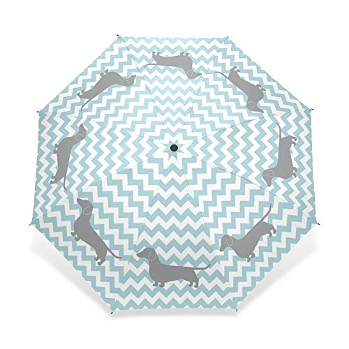 umbrella Lovely Sausage Dog Print Umbrella Fashion Printed Dogs Three-folding Sunny And Rainy Fully-automatic Child Umbrella