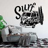 Adhesivo de pared, 68x57cm, calcomanía de pared moderna Surf The Wave con autocaravana, autoadhesivo para pared, auto antiguo, auto, auto, pared, vinilo, autocaravana, cartel de pared