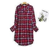 Misscoo Damen Baumwolle Schlafshirt Langarm Button-Down Nachthemd Flanell Nachtshirt (fünf Größen)