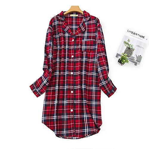 Misscoo Damen-Baumwoll-Nachthemd, Langarm-Nachthemd, durchgehend geknöpft, Flanell-Nachthemd (fünf Größen) Gr. 38, rot