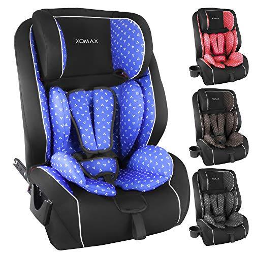 XOMAX XL-518 Kindersitz mit ISOFIX I mitwachsend I 9-36 kg, 1-12 Jahre, Gruppe 1/2/3 I 5-Punkt-Gurt und 3-Punkt-Gurt I Bezug abnehmbar und waschbar I ECE R44/04 (Blau Muster)