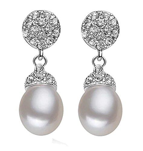 Pendientes de perlas 100% naturales de agua dulce con cristal zircon cubico y plata de ley 925