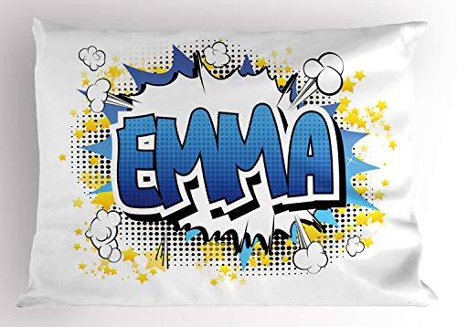 ABAKUHAUS Emma Siersloop voor kussen, Jeugdige Teen Strip, standaard maat bedrukte kussensloop, 90 x 50 cm, Blauw Geel en Zwart