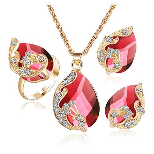 BestMall 3 Stück Rot Pfau Strass Halskette Ring Ohrringe Schmuck Anzug Mode Charme Kristall Anhänger Geschenk zum Frauen Damen von SamGreatWorld