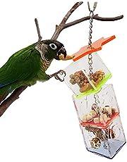 AMONIDA Zdejmowana zabawka do poszukiwania ptaków, 23 x 5,5 x 5,5 cm zabawka do żucia i gryzienia, materiał akrylowy, wisząca ptasie pudełko na paszę do sklepu dla zwierząt domowych papugi ptaki