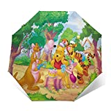 Winnie Pooh Umbrella Automatic Open/Close Portable Tri-Fold Umbrella Waterproof Anti UV Windproof Durable Umbrellas Exquisite 3D Printed Outer Print