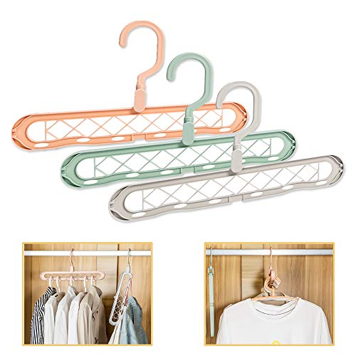AIPNIS 9 Holes Clothes Hanger OrganizerSpace Saving Hanger Folding Innovative Design for Heavy Clothes Shirts Pants Dresses Coats3 Pack