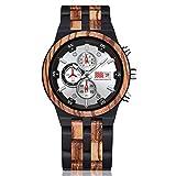 PLUIEX Reloj de Madera Reloj de Madera de Lujo para Hombre, cronógrafo de Cuarzo de 6 Pines, Fecha, Reloj multifunción, Reloj de Pulsera de Madera Completo, Grande para Hombre, Tipo 1