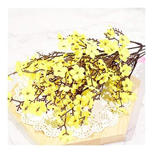 Rosa Seide künstliche Blumen Plum Cherry Blossom Bouquet DIY Hochzeit Hauptlieferungs-Dekoration Garland Gefälschte Blume Dried Flower (Color : Yellow)