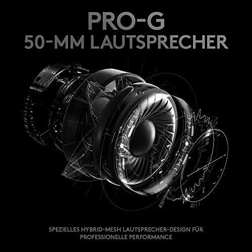 Logitech G PRO Gaming-Headset (2. Generation) mit PRO-G 50-mm-Lautsprechern, Aluminium, Stahl und Memory Foam, Präzise Sprachkommunikation für Esport Gaming, Für PC/Mac/Xbox One/PS4/Nintendo Switch