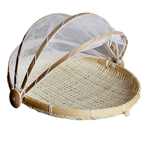 perfk 3x Bamboo & Mesh Cover Food Dome Bamboo Serving Foods Carpa Basket L