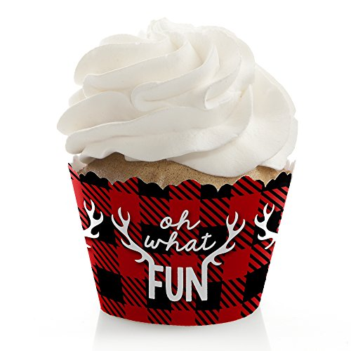 Prancing Plaid - Christmas & Holiday Buffalo Plaid Party Decorations - Party Cupcake Wrappers - Set of 12